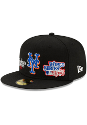 New Era New York Mets Mens Black Champion 59FIFTY Fitted Hat