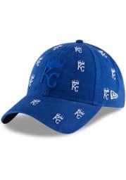 New Era Kansas City Royals Blue KC Royals Crown Logo Scatter 9TWENTY Womens Adjustable Hat