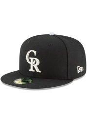New Era Colorado Rockies Mens Black Black and White 59FIFTY Fitted Hat