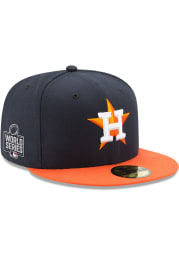 New Era Houston Astros Mens Navy Blue 2021 World Series Patch 59FIFTY Fitted Hat