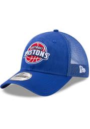 New Era Detroit Pistons Trucker Washed 9TWENTY Adjustable Hat - Blue
