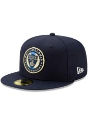 New Era Philadelphia Union Mens Navy Blue Basic 59FIFTY Fitted Hat