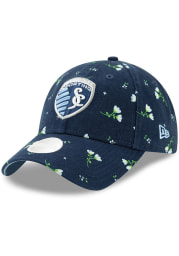 New Era Sporting Kansas City Navy Blue JR Blossom LS 9TWENTY Youth Adjustable Hat