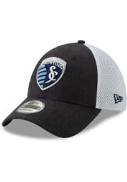 New Era Sporting Kansas City Mens Navy Blue Heather Front Neo 39THIRTY Flex Hat