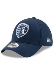 New Era Sporting Kansas City Mens Navy Blue Perf Play 39THIRTY Flex Hat