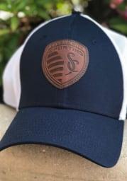 New Era Sporting Kansas City Mens Navy Blue Patched Mesh 39THIRTY Flex Hat