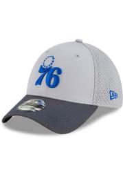 New Era Philadelphia 76ers Grey JR Gray Neo 39THIRTY Youth Flex Hat