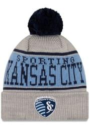 New Era Sporting Kansas City Grey JR Stripe A3 Cuff Pom Youth Knit Hat