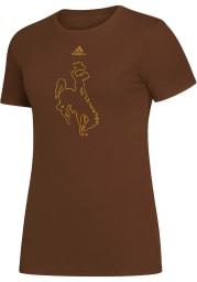 Wyoming Cowboys Womens Brown Amplifier Short Sleeve T-Shirt