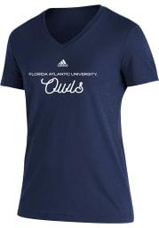 Florida Atlantic Owls Womens Navy Blue Blend Short Sleeve T-Shirt
