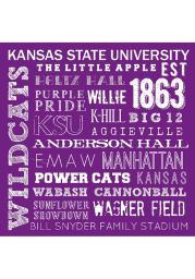 K-State Wildcats Chalkboard Stone Tile Coaster