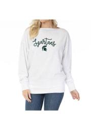 Michigan State Spartans Womens White Lainey Crew Sweatshirt