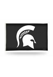 Michigan State Spartans Carbon Fiber 3x5 ft Black Silk Screen Grommet Flag