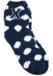 Xavier Musketeers Fuzzy Dot Womens Quarter Socks