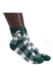 Michigan State Spartans Buffalo Check Fuzzy Womens Quarter Socks