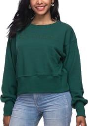 Michigan State Spartans Womens Green Wide Rib Crop Crew Sweatshirt