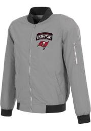Tampa Bay Buccaneers Mens Grey Super Bowl LV Champions Bomber Heavyweight Jacket