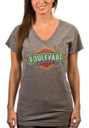 Original Retro Brand Boulevard Womens Black Color Logo Short Sleeve V-Neck T Shirt