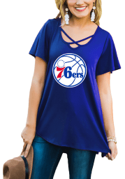 Gameday Couture Philadelphia 76ers Womens Blue Cross the Line Scoop Neck Short Sleeve T-Shirt