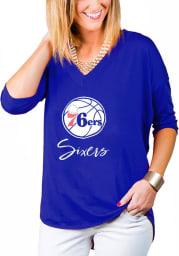 Gameday Couture Philadelphia 76ers Womens Blue Weekender Dropped Hem V Neck LS Tee