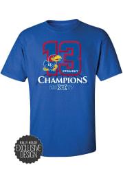 Kansas Jayhawks Blue Big 12 Champions Banners Short Sleeve T Shirt