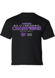 K-State Wildcats Youth Black 2019 Big 12 Champions Short Sleeve T-Shirt