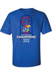 Kansas Jayhawks Blue 2019-2020 Big 12 Champions Short Sleeve T Shirt