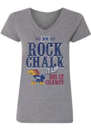Kansas Jayhawks Womens Grey 2019-2020 Big 12 Champions Short Sleeve T-Shirt