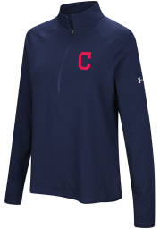 Under Armour Cleveland Indians Womens Navy Blue Passion Left Chest 1/4 Zip Pullover