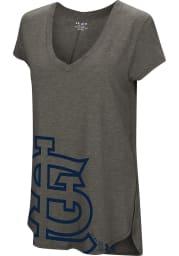 St Louis Cardinals Womens Grey Pride Offset Logo V-Neck
