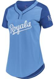 Kansas City Royals Womens Majestic League Diva Fashion Baseball Jersey - Light Blue