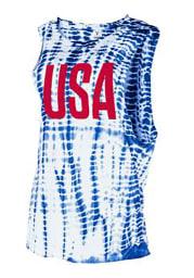 Americana Womens White Alligator Wash Short Sleeve Muscle Tank Top