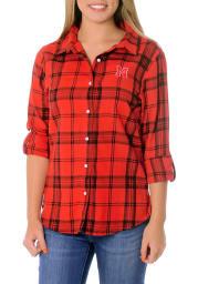 Nebraska Cornhuskers Womens Boyfriend Plaid Long Sleeve Red Dress Shirt