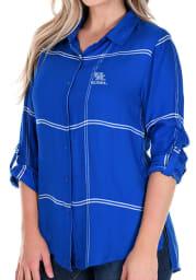 Kentucky Wildcats Womens Satin Boyfriend Plaid Long Sleeve Blue Dress Shirt