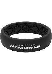 Seattle Seahawks Thin Black Silicone Womens Ring