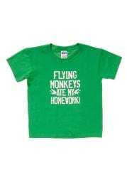 Wizard of Oz Youth Green Flying Monkeys Ate My Homework Short Sleeve T Shirt