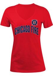 Chicago Fire Womens Red Glitter V-Neck T-Shirt