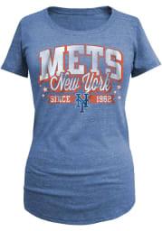 New York Mets Womens Blue Triblend Short Sleeve Scoop