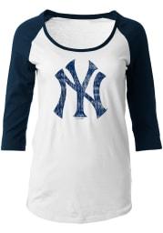 NY Yankees Womens White Raglan Long Sleeve Scoop Neck