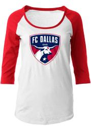 FC Womens White Raglan Long Sleeve Scoop Neck