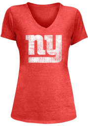 New York Giants Womens Red Triblend V-Neck