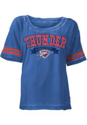Oklahoma City Thunder Womens Blue Washes Short Sleeve Scoop