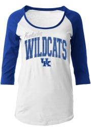 Kentucky Womens White Athletic Raglan Long Sleeve Scoop Neck