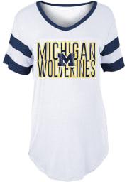 Michigan Wolverines Womens White Boyfriend Sleeve Stripes Short Sleeve T-Shirt