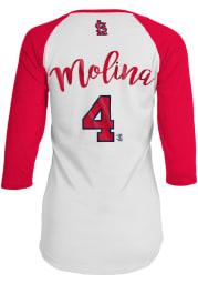 Yadier Molina St Louis Cardinals Womens White Baby Jersey Long Sleeve Player T Shirt