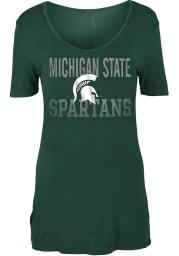 Michigan State Spartans Womens Green Potassium Spray V-Neck