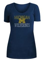 Michigan Wolverines Womens Navy Blue Potassium Spray V-Neck