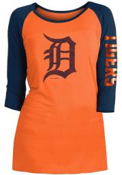 Detroit Tigers Womens Orange Athletic Long Sleeve Scoop Neck