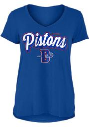 Detroit Pistons Womens Blue Athletic Glitter V Neck Short Sleeve T-Shirt
