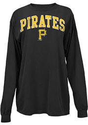 Pittsburgh Pirates Womens Black Comfort Colors LS Tee
